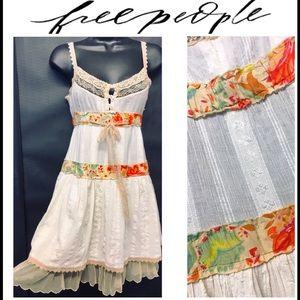 FREE PEOPLE Babydoll Cotton Ruffled Boho Dress 0